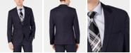 Hugo Boss Men's Modern-Fit Wool Navy Plaid Suit Jacket