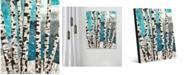 "Creative Gallery Winter Aspen Tree on Blue 24"" x 36"" Metal Wall Art Print"