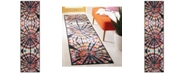 """Safavieh Paint Brush Black and Coral 2'3"""" x 8' Runner Area Rug"""
