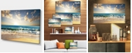 "Design Art Designart Cloudy Sky And Vibrant Blue Sea Seascape Canvas Art Print - 32"" X 16"""
