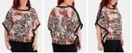 NY Collection Plus Size Hemline-Smocked Printed Poncho Top