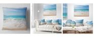 "Design Art Designart 'White Waves Kissing Beach Sand' Seashore Throw Pillow - 16"" x 16"""