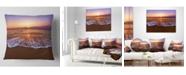 "Design Art Designart 'Orange Tinged Sea Waters At Sunset' Beach Photo Throw Pillow - 16"" x 16"""