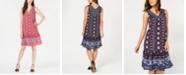 Style & Co Geo Medley Printed Flounce-Hem Dress, Created for Macy's