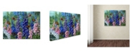 "Trademark Global Wanda Mumm 'Butterfly And Delphinium' Canvas Art - 24"" x 18"" x 2"""