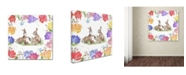 """Trademark Global Jean Plout 'Bunnies In The Tulips 1' Canvas Art - 35"""" x 35"""" x 2"""""""