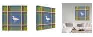 """Trademark Global Sher Sester 'Lodge Duck Plaid Yel-Green' Canvas Art - 24"""" x 24"""" x 2"""""""