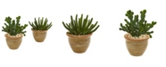 Nearly Natural Cactus Succulent Artificial Plant in Ceramic Vase (Set of 2)