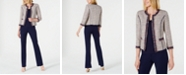 Anne Klein Cropped Fringed Jacket, Double V-Neck Top & Flare-Leg Pants