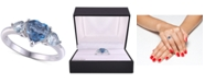 Macy's Simulated Blue Topaz Heart Ring in Sterling Silver