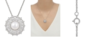 """Arabella Cultured Freshwater Pearl (9mm) & Swarovski Zirconia 18"""" Pendant Necklace in Sterling Silver, Created for Macy's"""