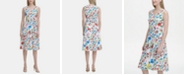 Calvin Klein Sleeveless Floral Printed A-Line Dress