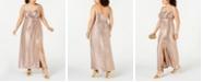 Nightway Plus Size Draped Metallic Gown