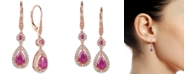 Macy's Certified Ruby (1-5/8 ct. t.w.) and Diamond (1/3 ct. t.w.) Teardrop Halo Drop Earrings in 14k Rose Gold (Also Available In Tanzanite)