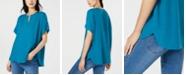 Eileen Fisher Split-Neck Tencel Short-Sleeve Top