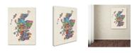 "Trademark Global Michael Tompsett 'Scotland Typography Text Map' Canvas Art - 14"" x 19"""