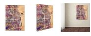 "Trademark Global Michael Tompsett 'Chicago City Street Map' Canvas Art - 14"" x 19"""