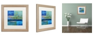 "Trademark Global Michelle Calkins 'Essence of Blue' Matted Framed Art - 16"" x 16"""