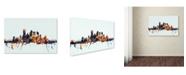 "Trademark Global Michael Tompsett 'Pittsburgh PA Skyline Blue' Canvas Art - 12"" x 19"""