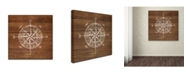 "Trademark Global Stephanie Marrott 'Compass On Wood' Canvas Art - 14"" x 14"""