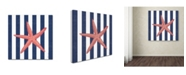 "Trademark Global Stephanie Marrott 'Starfish Stripe' Canvas Art - 14"" x 14"""