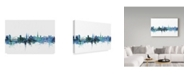 "Trademark Global Michael Tompsett 'Newcastle England Blue Teal Skyline' Canvas Art - 19"" x 12"""