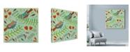 """Trademark Global Michelle Campbell 'Bird Design Blue' Canvas Art - 18"""" x 18"""""""