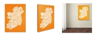 "Trademark Global Michael Tompsett 'ORANGE-Ireland Text Map' Canvas Art - 18"" x 24"""