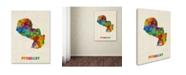 "Trademark Global Michael Tompsett 'Paraguay Watercolor Map' Canvas Art - 18"" x 24"""