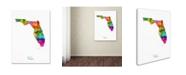 "Trademark Global Michael Tompsett 'Florida Map' Canvas Art - 18"" x 24"""
