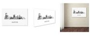 "Trademark Global Marlene Watson 'Austin Texas Skyline WB-BW' Canvas Art - 22"" x 32"""
