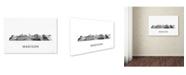 "Trademark Global Marlene Watson 'Madison Wisconsin Skyline WB-BW' Canvas Art - 22"" x 32"""