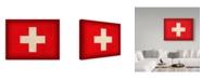 "Trademark Global Red Atlas Designs 'Switzerland Distressed Flag' Canvas Art - 47"" x 35"""