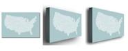 "Trademark Global Michael Tompsett 'US City Map VIII' Canvas Art - 24"" x 16"""