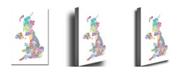 "Trademark Global Michael Tompsett 'UK Counties Text Map' Canvas Art - 47"" x 30"""