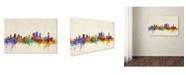 "Trademark Global Michael Tompsett 'Brisbane Watercolor Skyline' Canvas Art - 24"" x 16"""