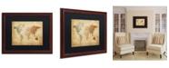 """Trademark Global Michael Tompsett 'Time Zones Map of the World' Matted Framed Art - 20"""" x 16"""""""