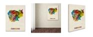 "Trademark Global Michael Tompsett 'Cambodia Watercolor Map' Canvas Art - 35"" x 47"""
