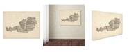 """Trademark Global Michael Tompsett 'Old Sheet Music Map of Austria' Canvas Art - 24"""" x 32"""""""