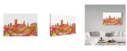 "Trademark Global Marlene Watson 'Providence Rhode Island Skyline Swirl' Canvas Art - 12"" x 19"""