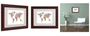 "Trademark Global Michael Tompsett 'Flowers World Map 2' Matted Framed Art - 14"" x 11"""