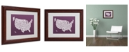 "Trademark Global Michael Tompsett 'MULBERRY-USA States Text Map' Framed Art - 14"" x 11"""