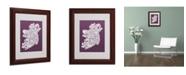 """Trademark Global Michael Tompsett 'MULBERRY-Ireland Text Map' Matted Framed Art - 14"""" x 11"""""""