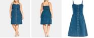 City Chic Trendy Plus Size Cotton Denim Button-Front Dress