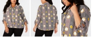 Alfani Plus Size Printed Tie-Cuff Blouse, Created for Macy's