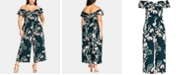 City Chic Trendy Plus Size Fresh Field Floral-Print Jumpsuit