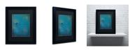 """Trademark Global Nicole Dietz 'Lone Bird Blue' Matted Framed Art - 14"""" x 11"""""""