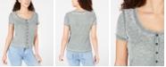 Crave Fame Juniors' Button-Front Waffle T-Shirt