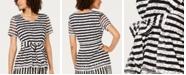 Alfani Textured Striped Tie-Waist Top, Created For Macy's