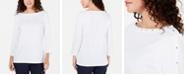 Karen Scott Petite Studded Boat-Neck Cotton Top, Created for Macy's